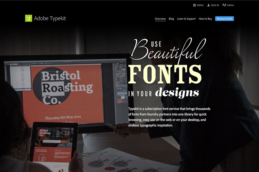 Adobe Typekit homepage
