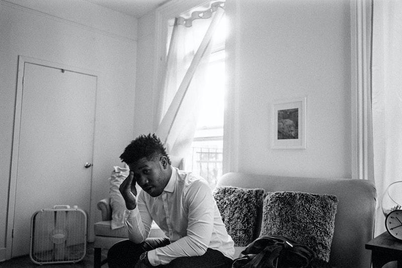 Aundre Larrow in his apartment